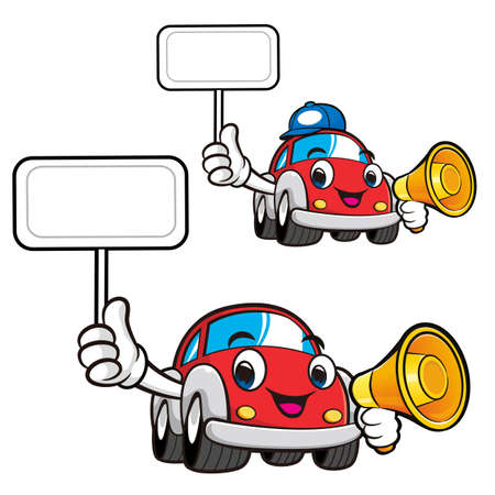 picket: Car Character is holding a loudspeaker and picket. Vector Car Mascot Design Series. Illustration