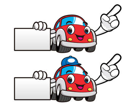 Car Character is holding a business card. Vector Car Mascot Design Series. Illustration