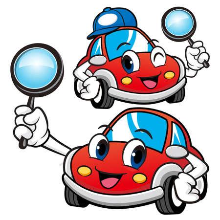 Car Character look through a magnifying glass. Vector Car Mascot Design Series.