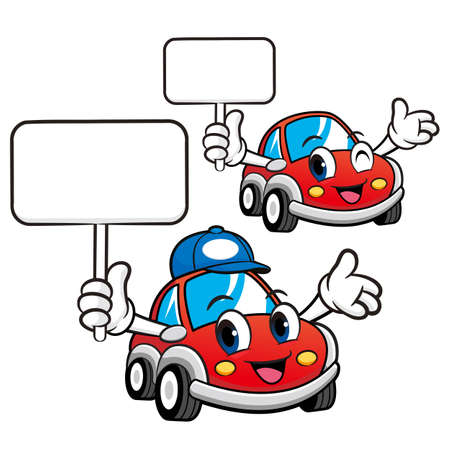 Car Character the hand is holding a picket. Vector Car Mascot Design Series.