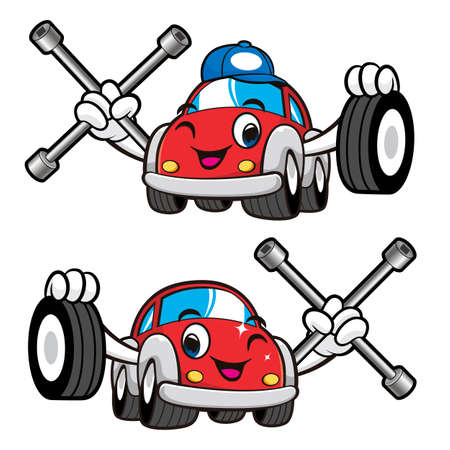 phillips: Car Character is Holding a Tire and Cross Spanner. Vector Car Mascot Design Series. Illustration