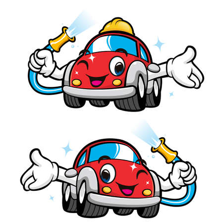 Car Self Wash Character Design. Vector Car Mascot Design Series.