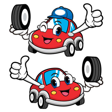 car tire: Car Character is Holding a Tire. Vector Car Mascot Design Series.