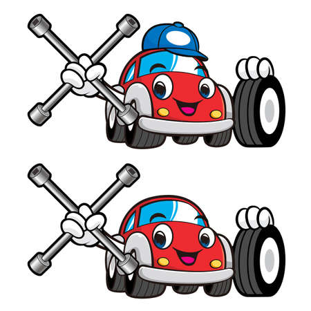 car tire: Car Character is Holding a Tire and Cross Spanner. Vector Car Mascot Design Series. Illustration