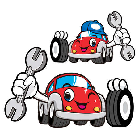 phillips: Car Character is Holding a Tire and wrench. Vector Car Mascot Design Series.