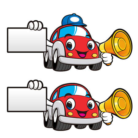 Car Character is holding a loudspeaker and business card. Vector Car Mascot Design Series.