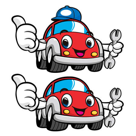 Car Character is holding a spanner. Vector Car Mascot Design Series. Illustration