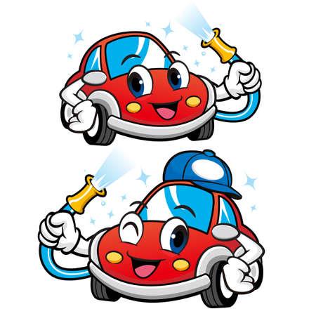 car wash: Car Character is Car Wash to Cool. Vector Car Mascot Design Series.