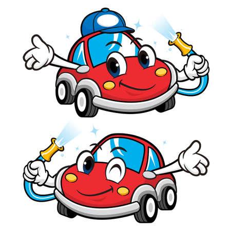 Car Character is Car Wash to Cool. Vector Car Mascot Design Series.