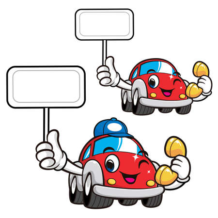 picket: Car Character is holding a Phone and picket. Vector Car Mascot Design Series.