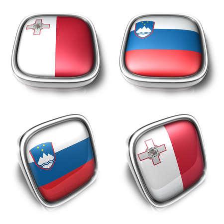 Malta and Slovenia 3d metalic square flag Button Icon Design Series. 3D World Flag Button Icon Design Series. Stock Photo