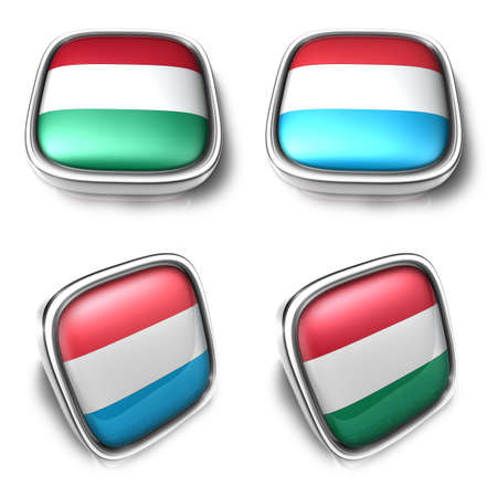 Romania and Luxembourg 3d metalic square flag Button Icon Design Series. 3D World Flag Button Icon Design Series.