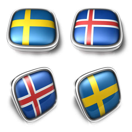 Sweden and Iceland 3d metalic square flag Button Icon Design Series. 3D World Flag Button Icon Design Series.