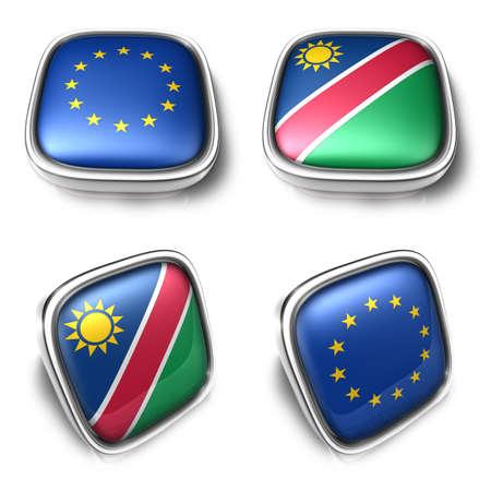 European Union and Namibia 3d metalic square flag Button Icon Design Series. 3D World Flag Button Icon Design Series.