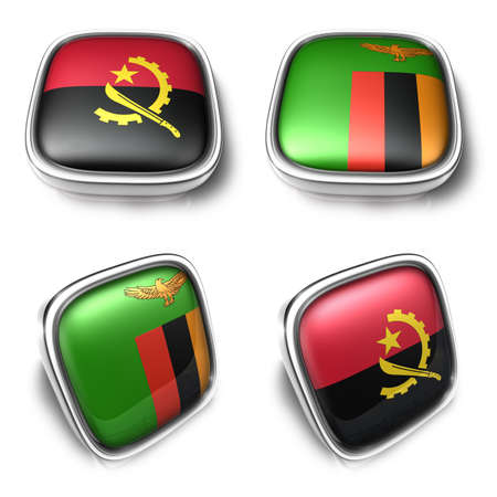 Angola and Zambia 3d metalic square flag Button Icon Design Series. 3D World Flag Button Icon Design Series.