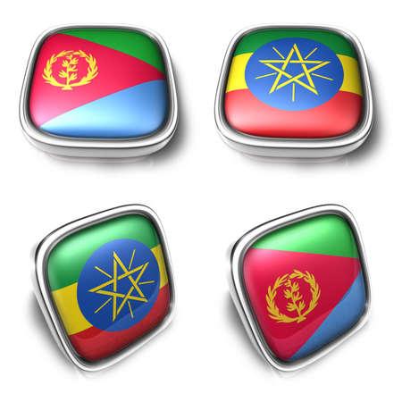Eritrea and Ethiopia 3d metalic square flag Button Icon Design Series. 3D World Flag Button Icon Design Series. Stock Photo