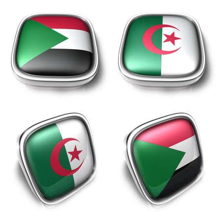 Sudan and Algeria 3d metalic square flag Button Icon Design Series. 3D World Flag Button Icon Design Series.