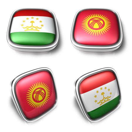 3D Metalic tajikistan and kyrgyzstan square flag Button Icon Design Series. 3D World Flag Button Icon Design Series. Stock Photo