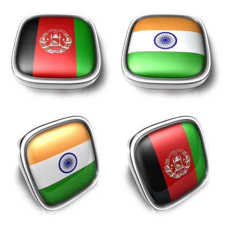 3D Metalic afghanistan and india square flag Button Icon Design Series. 3D World Flag Button Icon Design Series.