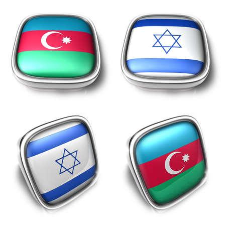 3D Metalic azerbaijan and israel square flag Button Icon Design Series. 3D World Flag Button Icon Design Series. Stock Photo
