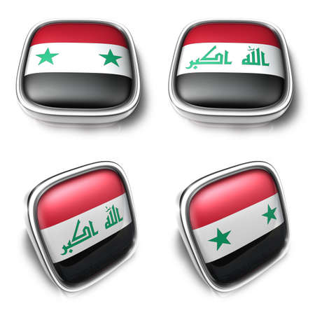 3D Metalic syria and iraq  square flag Button Icon Design Series. 3D World Flag Button Icon Design Series.