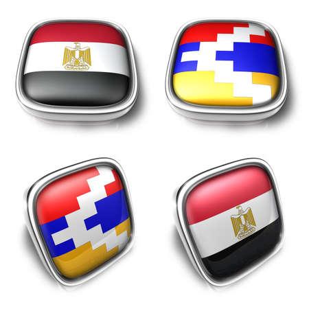 3D Metalic egypt and nagormo karabkh square flag Button Icon Design Series. 3D World Flag Button Icon Design Series.