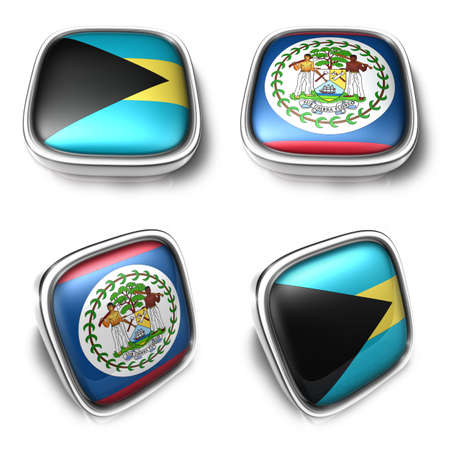 3D Metalic Bahamas and Belize square flag Button Icon Design Series. 3D World Flag Button Icon Design Series.