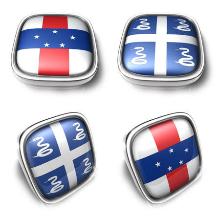 3D Metalic Netherlands Antilles and Martinique square flag Button Icon Design Series. 3D World Flag Button Icon Design Series.