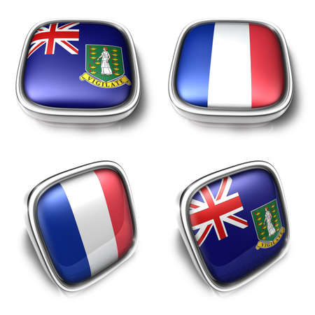 collectivity: 3D Metalic British Virgin Islands and Collectivity Saint Martin square flag Button Icon Design Series. 3D World Flag Button Icon Design Series.