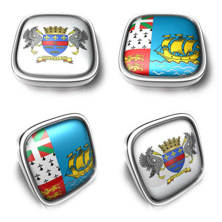 3D Metalic Saint Barthelemy and Saint Pierre Miquelon square flag Button Icon Design Series. 3D World Flag Button Icon Design Series.
