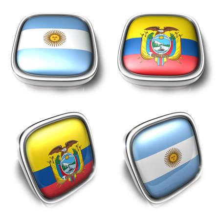 3D Metalic Argentina and Ecuador square flag Button Icon Design Series. 3D World Flag Button Icon Design Series.