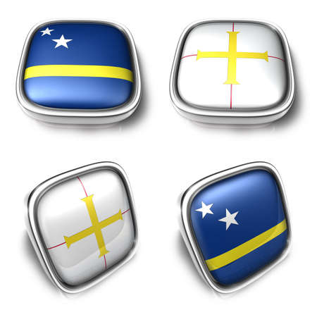 bailiwick: 3D Metalic Curacao and Bailiwick Guernseysquare flag Button Icon Design Series. 3D World Flag Button Icon Design Series.