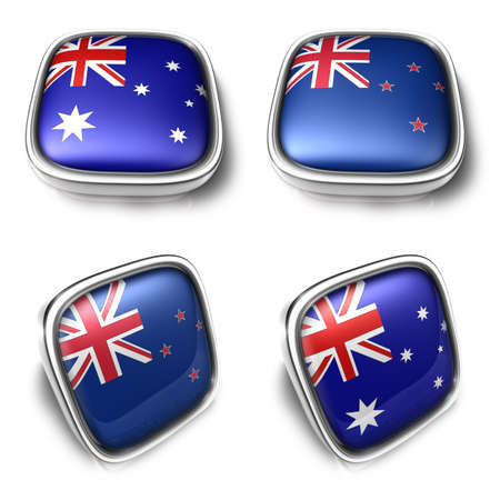 newzealand: 3D Metalic Australia and NewZealand square flag Button Icon Design Series. 3D World Flag Button Icon Design Series. Stock Photo