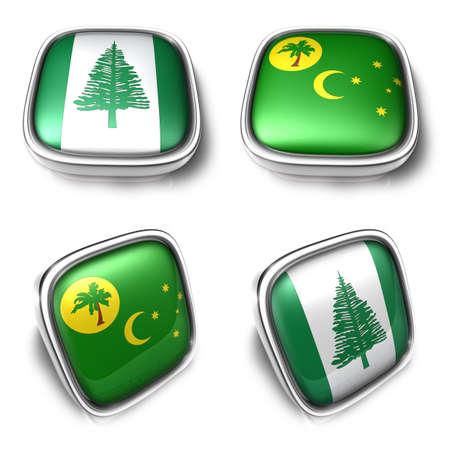 3D Metalic NorfolkIsland Cocos square flag Button Icon Design Series. 3D World Flag Button Icon Design Series. Stock Photo