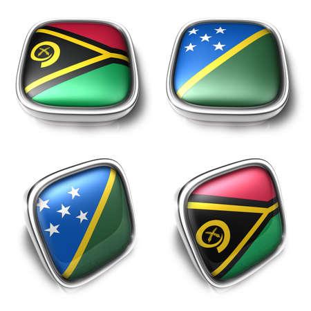 3D Metalic Vanuatu and Solomon Islands square flag Button Icon Design Series. 3D World Flag Button Icon Design Series. Stock Photo
