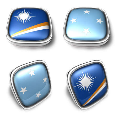 federated: 3D Metalic Marshall Islands and Federated States of micronesian square flag Button Icon Design Series. 3D World Flag Button Icon Design Series.