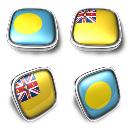 3D Metalic Palau and Niue square flag Button Icon Design Series. 3D World Flag Button Icon Design Series.