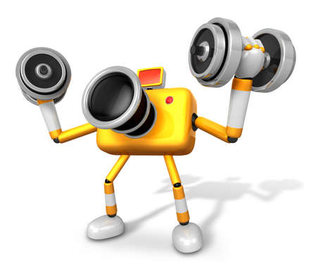 'pull over': 3D Yellow Camera character a Dumbbell curl Exercise. Create 3D Camera Robot Series. Stock Photo