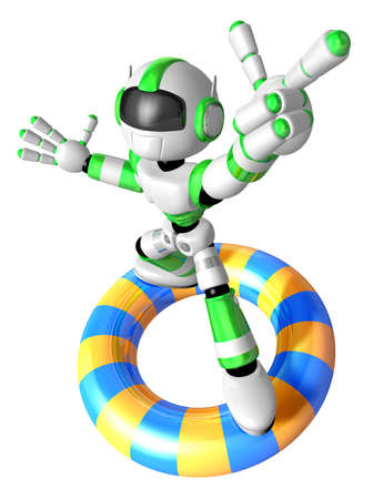 humanoid: 3d Green robot character surfing on lifebuoy. Create 3D Humanoid Robot Series. Stock Photo
