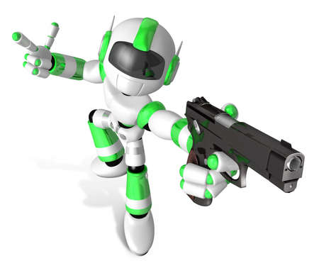 humanoid: 3D Green Mascot robot is holding a Automatic pistol pose. Create 3D Humanoid Robot Series.