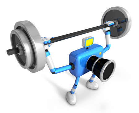 'pull over': 3D Blue Camera character is doing powerful Weightlifting Exercises. Create 3D Camera Robot Series.