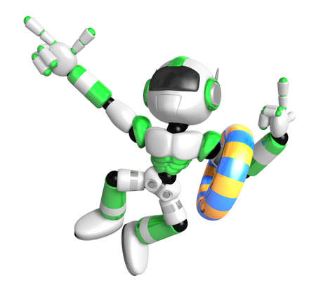humanoid: 3d green robot set out on a summer vacation. Create 3D Humanoid Robot Series.