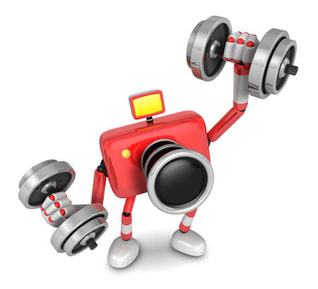 'pull over': 3D red Camera character a one Dumbbell curl Exercise. Create 3D Camera Robot Series.
