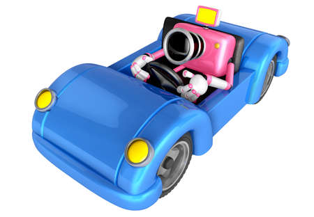convertible car: Driving a Blue Convertible car in pink camera Character. Create 3D Camera Robot Series.