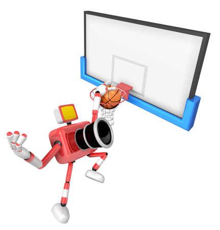 3D Red camera basketball player Vigorously jumping. Create 3D Camera Robot Series.