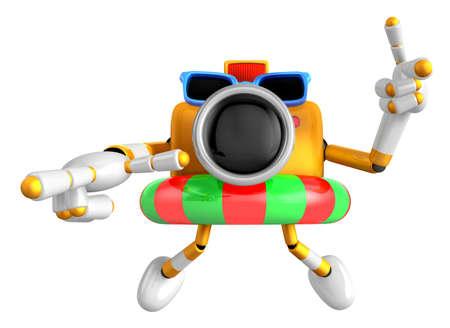 3d Yellow Camera Character dip tube ride. Create 3D Camera Robot Series.