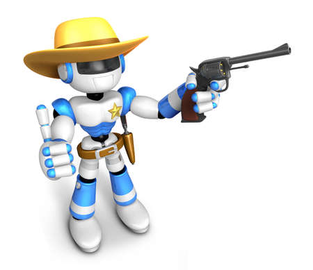 left hand: 3D Blue Robot sheriff the right hand best gesture and left hand is holding a revolver gun. Create 3D Humanoid Robot Series.