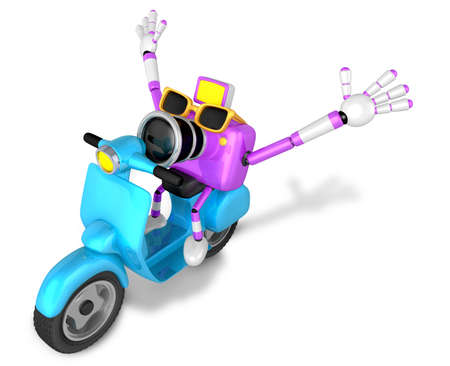 fidelity: 3D Purple camera character the left motorbike driving. Create 3D Camera Robot Series. Stock Photo