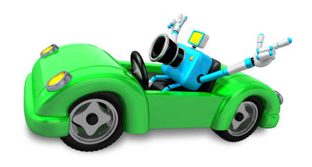 convertible car: Driving a Green Convertible car in sky blue camera Character. Create 3D Camera Robot Series.