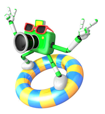 caballa: 3d green Camera character surfing on lifebuoy. Create 3D Camera Robot Series.